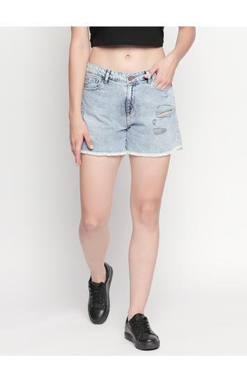 Light Blue Ripped Shorts