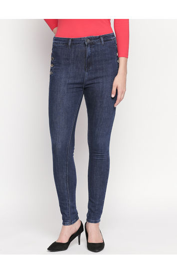 Dark Blue Solid High Rise Jeans