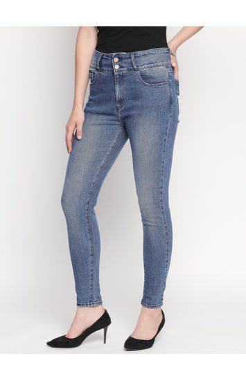 Mid Blue Solid Skinny Fit Jeans