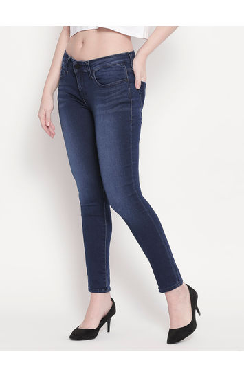 Dark Blue Low-rise Waist Super Skinny Fit Jeans