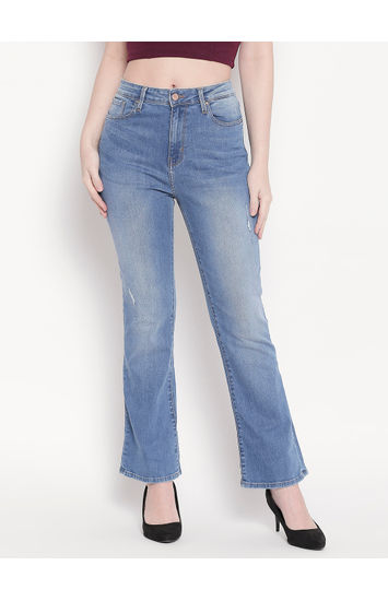 Mid Blue Low Distress High-Rise Bootcut Jeans