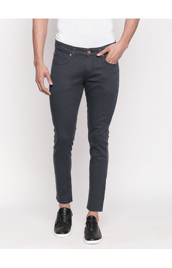 Dark Grey Solid Tapered Fit Jeans
