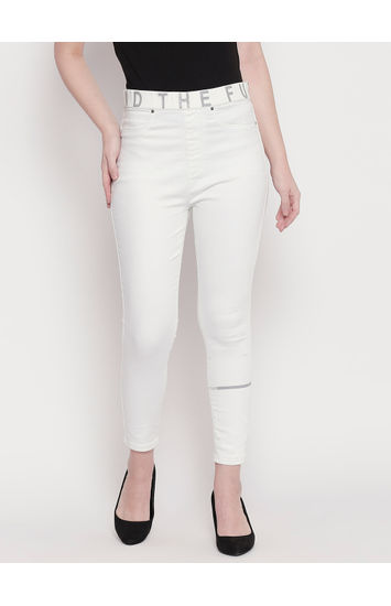 White Mid-Rise Cotton Joggers