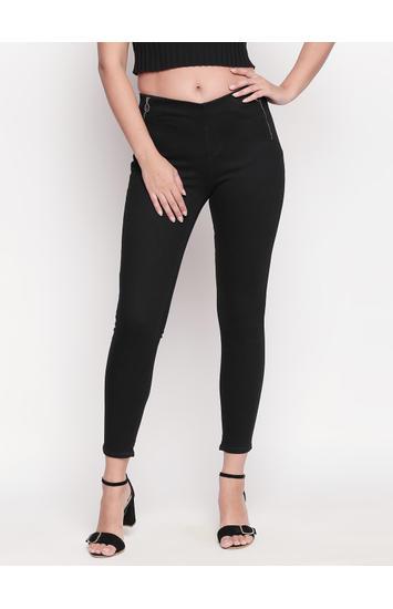 Black Solid Skinny Fit Jeggings