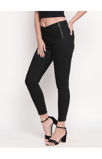 Black Solid Skinny Fit Jeggings