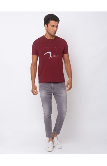 SPYKAR LT GREY COTTON TAPERED FIT JEANS