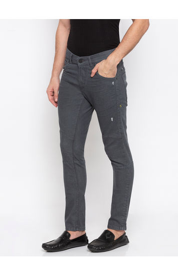 SPYKAR Grey Cotton TAPERED FIT JEANS