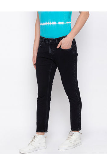 SPYKAR Black COTTON TAPERED FIT JEANS