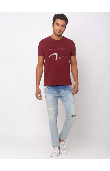 SPYKAR Light Blue COTTON TAPERED FIT JEANS