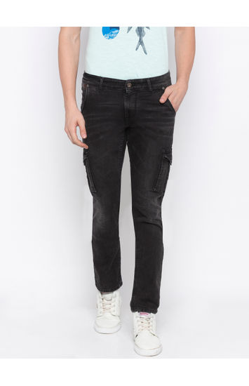 SPYKAR Carbon Black Cotton TAPERED FIT JEANS