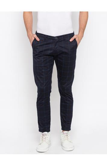 Spykar Navy Cotton Slim Fit Trousers