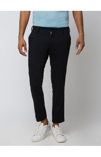 Spykar Black Cotton Slim Fit Trousers
