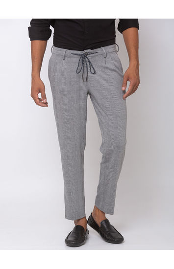 Spykar Black /White Cotton Tapered Fit Trousers