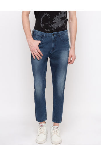 Mid Blue Solid GYMJNS Fit Jeans