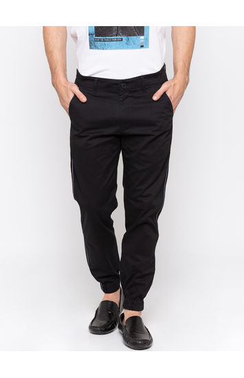 Black Solid jogger Fit Joggers