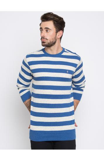 Royal Blue & White Striped Slim Fit T-Shirts