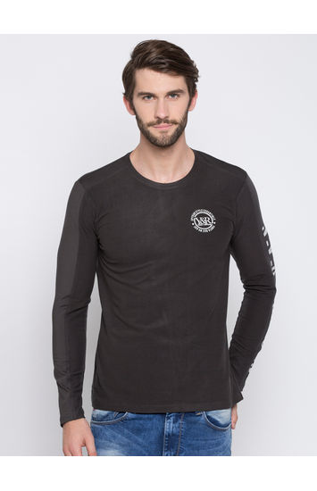 Charcoal Solid Slim Fit T-Shirts