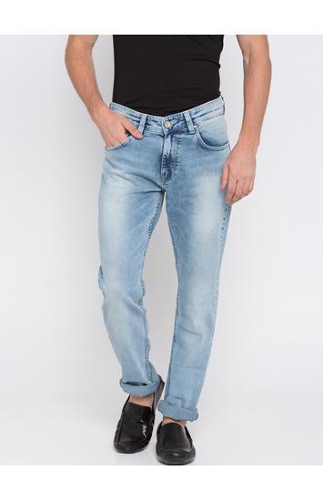 Light Blue Solid Slim Thigh Narrow Leg Fit Jeans