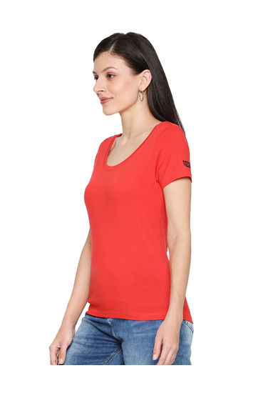 Spykar Cotton Coral T-Shirts