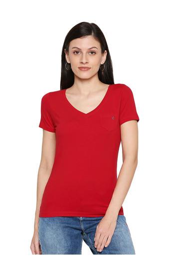 Spykar Cotton Red T-Shirts