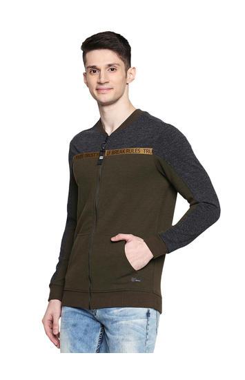 Spykar Cotton Blend Green Sweatshirts