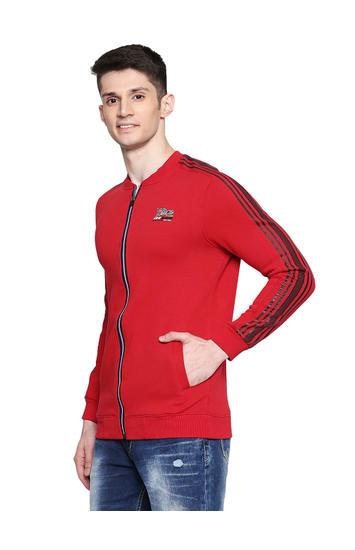 Spykar Cotton Blend Red Sweatshirts