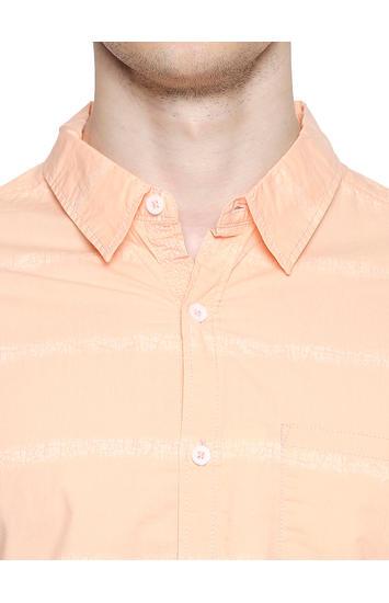Spykar Cotton Peach Shirts