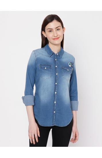 Spykar Cotton Blue SHIRTS