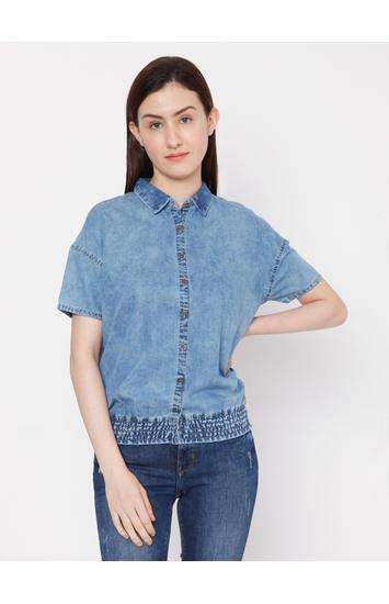 Spykar Cotton Blue T-Shirts