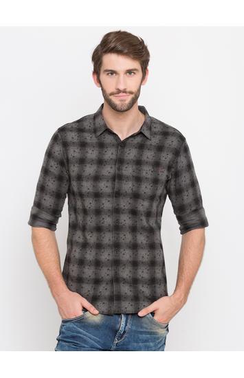 Black Checked Slim Fit Casual Shirts