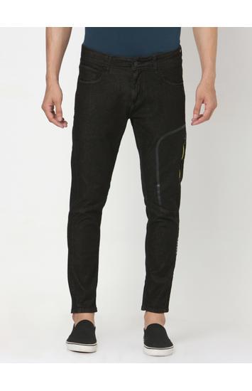 Spykar Black Cotton Slim Jeans