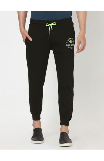 Spykar Black Cotton Relaxed Trackpants