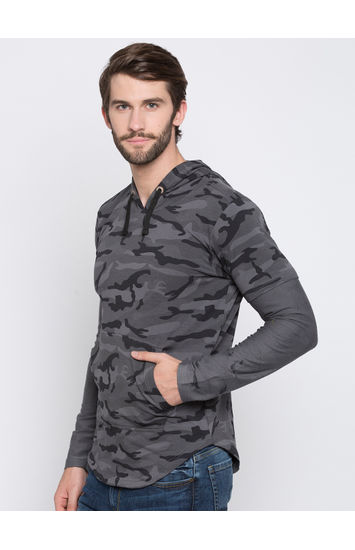 Grey & Black Camouflage Slim Fit Hoodies