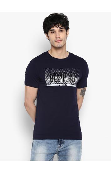 Ink Blue Printed Slim Fit T-Shirts