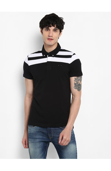 Black Solid Slim Fit T-Shirts