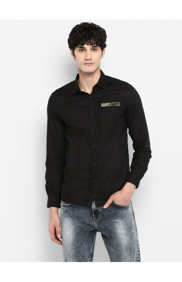 Black Solid Slim Fit Casual Shirts