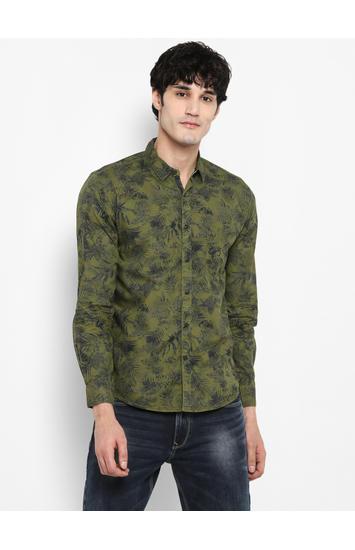Green Printed Slim Fit Casual Shirts