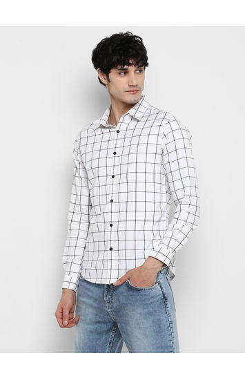 White Checked Slim Fit Casual Shirts