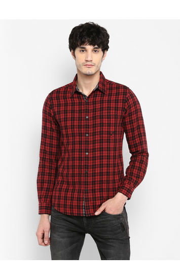 Grey & Maroon Checked Slim Fit Casual Shirts