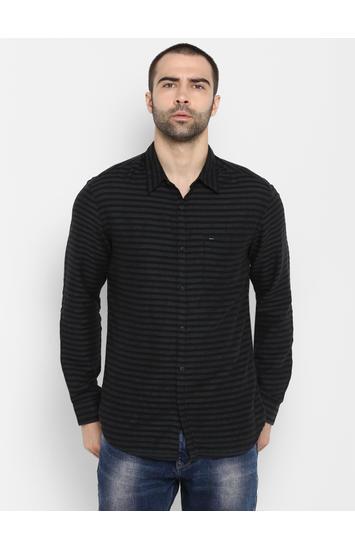 Black Striped Slim Fit Casual Shirts