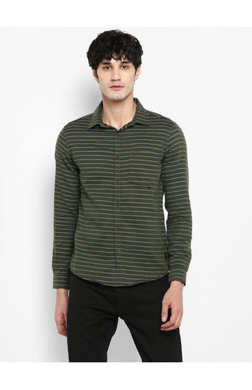 Olive Striped Slim Fit Casual Shirts