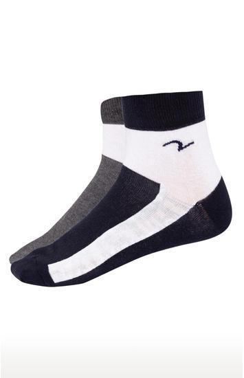 Grey & Navy Solid Ankle length Socks