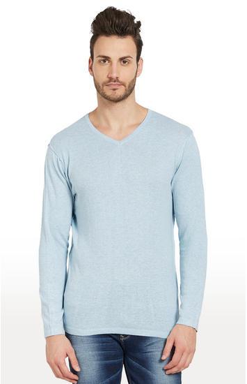Sky Blue Melange Slim Fit T-Shirts