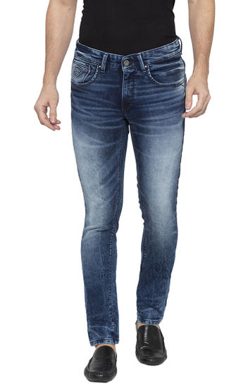 Mid Blue Solid Tapered Jeans