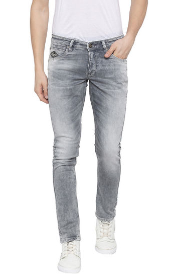 Grey Solid Tapered Jeans