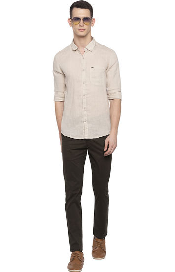 Beige Solid Casual Shirt