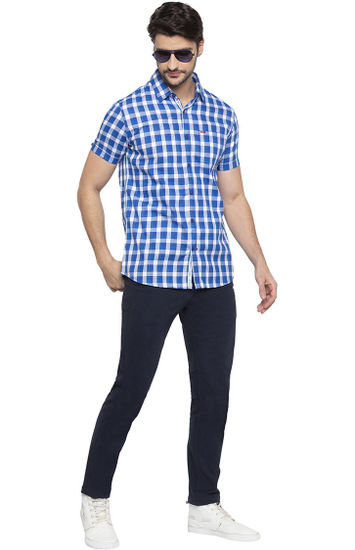Cobalt Blue Checked Slim Fit Casual Shirt