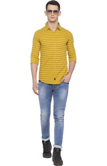 Mustard Striped Slim Fit Casual Shirt