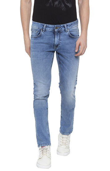 Light Blue Solid Skinny Fit Jeans