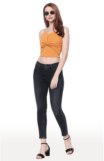 Dark Blue Solid Skinny Ankle Length Fit Jeans